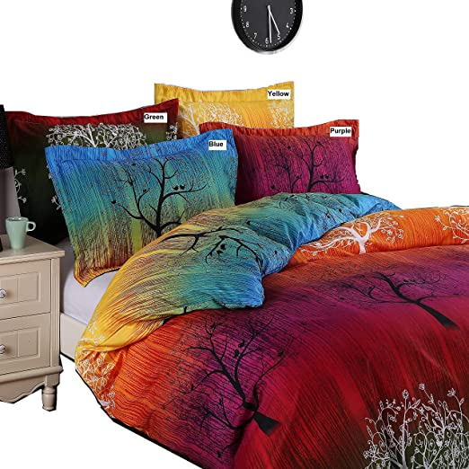 rainbow tree bedding set duvet cover set or sheet set or accessories all sizes