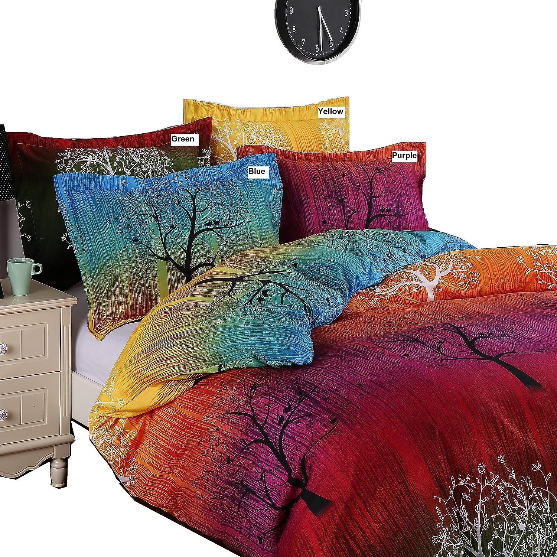 A Pair of Rainbow Tree Pillow Shams (Standard, Blue)