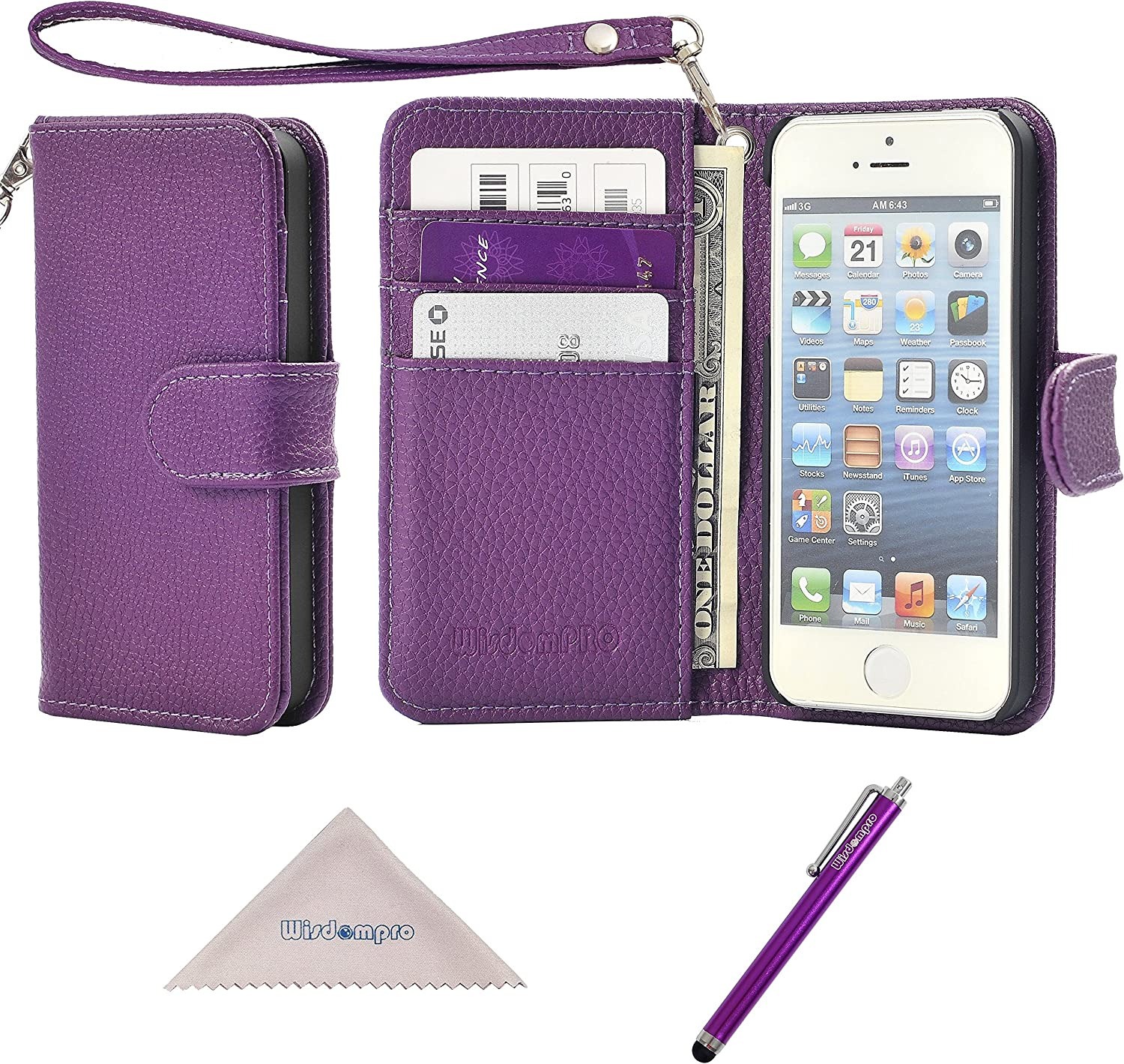 iPhone SE 2016 Case, iPhone 5 Case, Wisdompro Premium PU Leather 2-in-1 Protective Folio Flip Wallet Case with Credit Card Holder Slots and Wrist Lanyard for iPhone 5/5s/SE 1st Generation -Purple