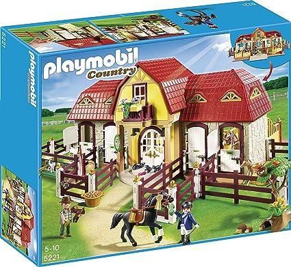 Amazon.com: Playmobil Granja de caballos grande con prado ...