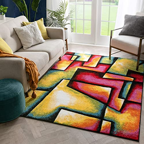 Well Woven Fortuna Boxes Multi Hand-Carved Abstract Geometric Pattern Area Rug 8×10 7 10 x 9 10