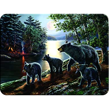 River's Edge Beautiful Tempered Glass Cutting Board with Mama Black Bear and Cubs Design (Black Bear, 16-Inchx12-Inchx.5-Inch)