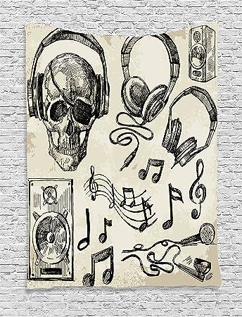 Musik Decor Wandteppich Für Von Ambesonne, Sketchy Musik Hintergrund Hipster  Totenkopf Mit Kopfhörer Record Player
