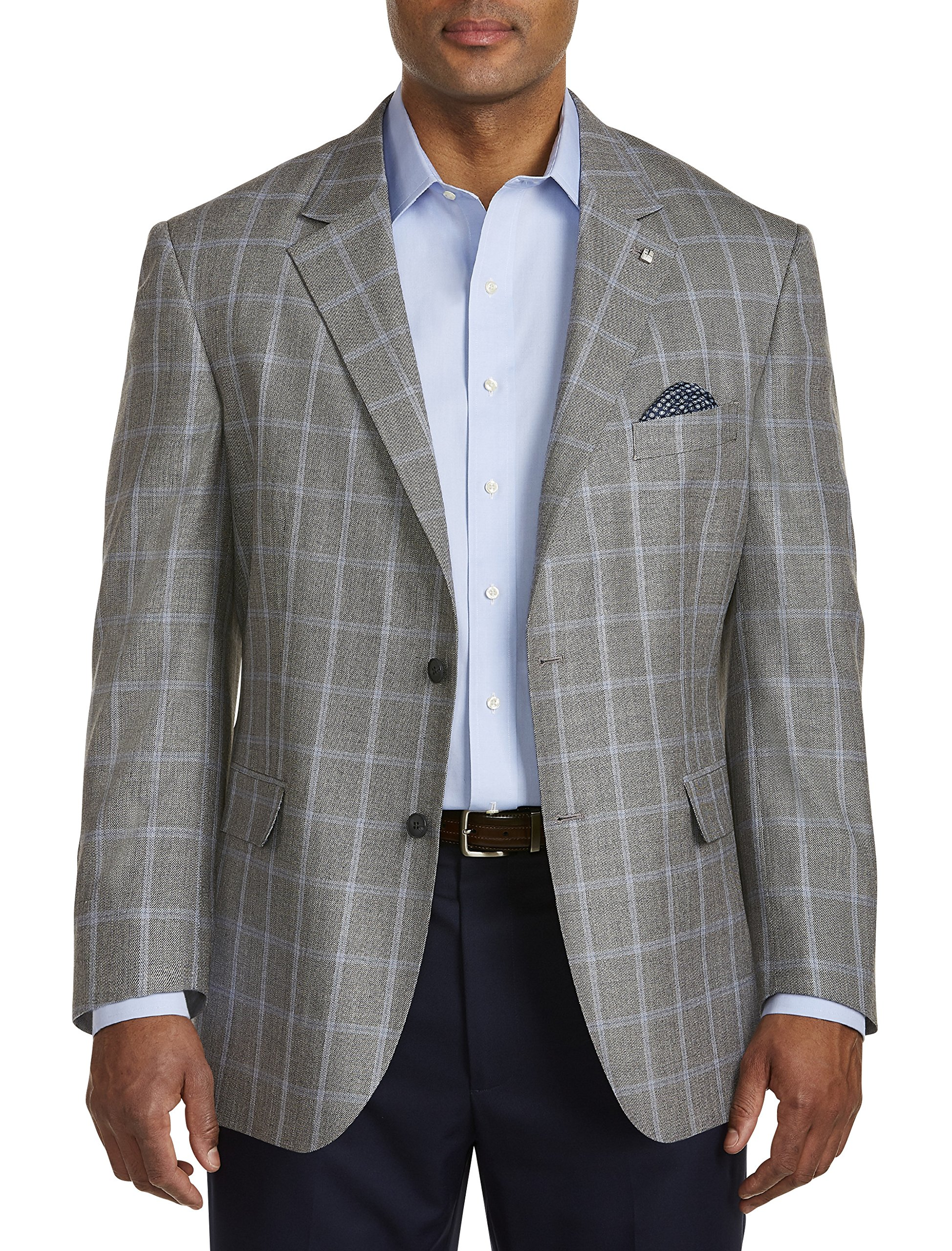 Oak Hill by DXL Big and Tall Jacket-Relaxer Textured Windowpane Sport Coat Executive Cut