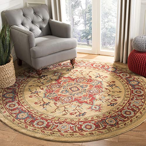Safavieh Mahal Collection MAH698A Traditional Oriental Red and Natural Round Area Rug 9' Diameter