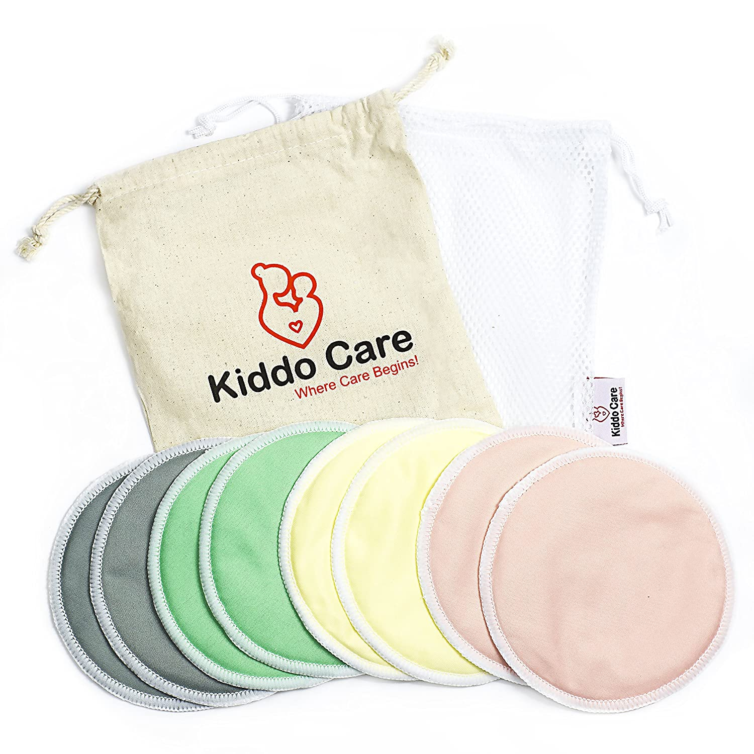 23f3b75277 BEST Washable Organic Bamboo Nursing Pads -8 PACK (4 pairs) Colored-  Reusable Breast Pads