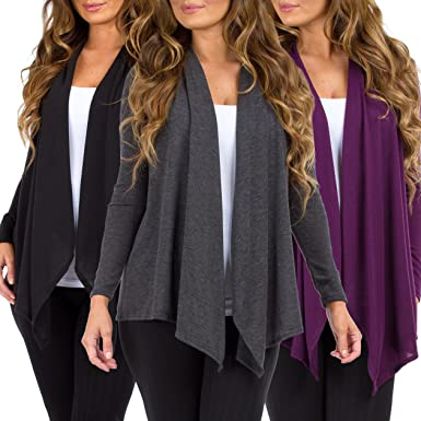 231f7b1daa Women 3 Pack Hacci Open Front Cardigans by Rags and Couture - Made in USA