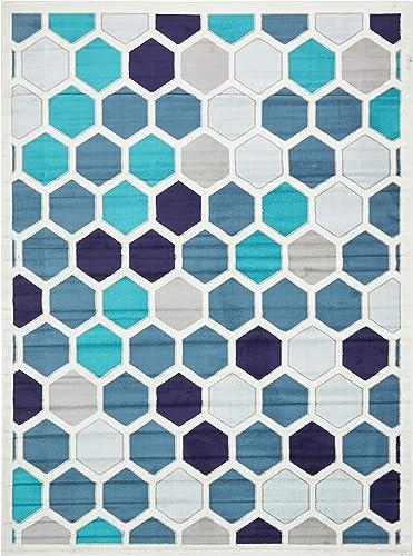 Unique Loom Metro Collection Abstract Geometric Hexagon Cream Area Rug 9 0 x 12 0