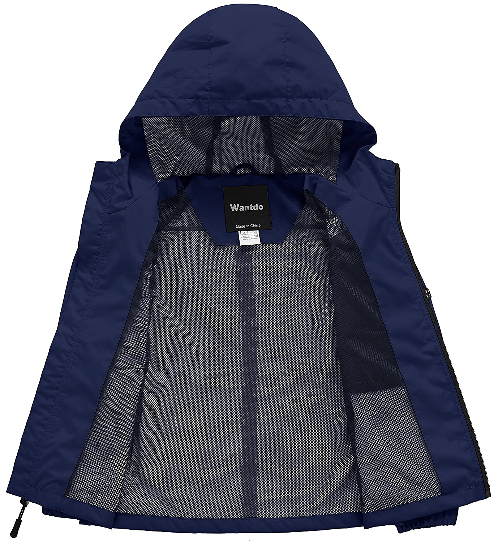 652777e002d7 Wantdo Boy s Spring Camping Rain Jacket Lightweight Mesh Lined ...