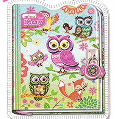 Hot Focus Diary Owl with Lock & Keys In Sealed PVC Package: Toys & Games