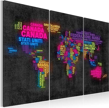 murando Tablero De Corcho & Cuadro en Lienzo 60x40 cm No Tejido XXL Estampado Memoboard Decoración De Pared Impresión Artística Fotografía Gráfica Poster Mapamundi Mapa del Mundo k-C-0046-p-a: Amazon.es: Hogar