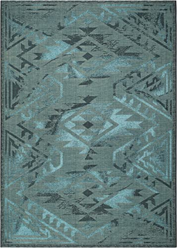 Safavieh Palazzo Collection PAL122-56C4 Black and Turquoise Area Rug 8 x 11