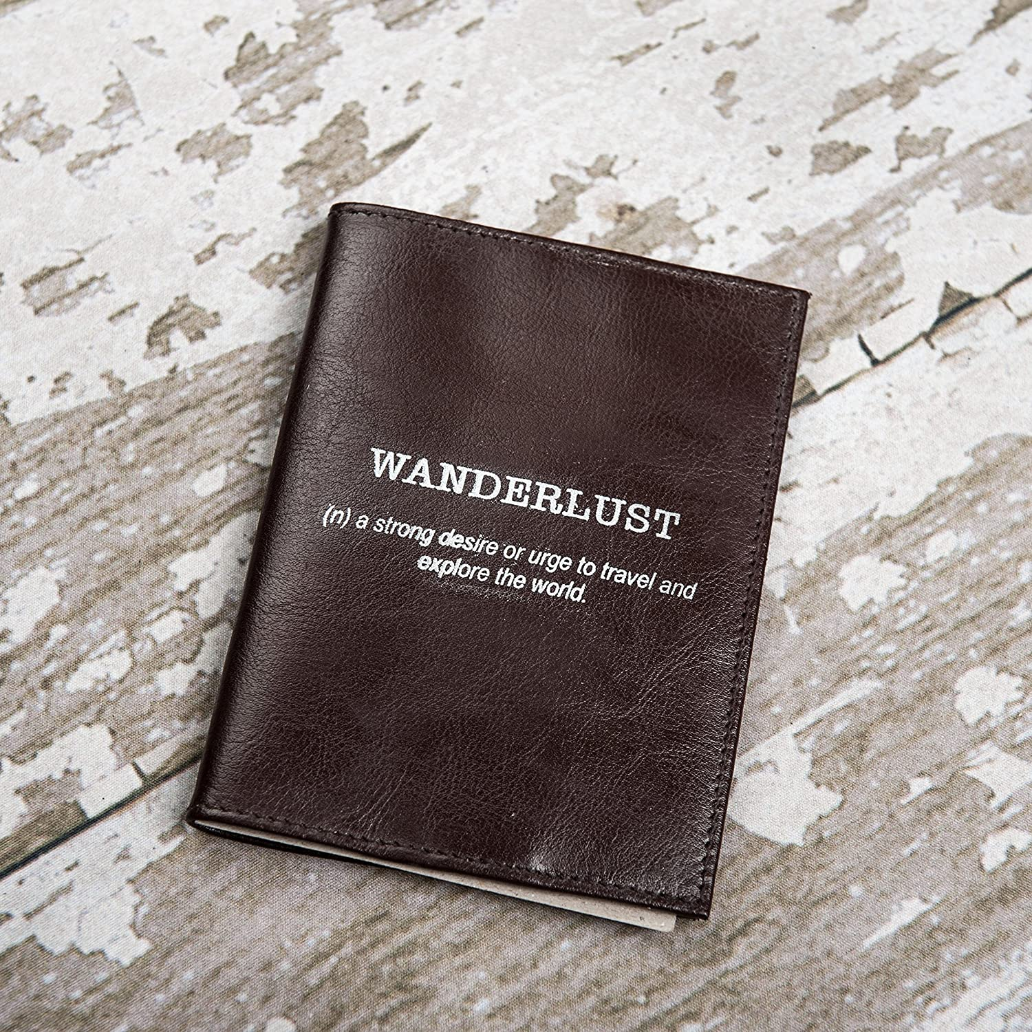 Wanderlust Genuine Leather Passport Cover, Travel Accessories, Travel Wallet, Genuine Leather case cover - Securely Holds Passport, Business Cards, Credit Cards, Boarding Passes