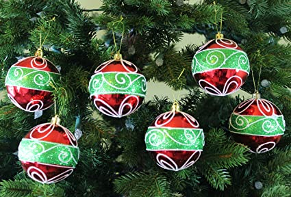 festive season classic christmas shatterproof christmas ball ornaments tree decorations set of 6 - Classic Christmas Tree Decorations