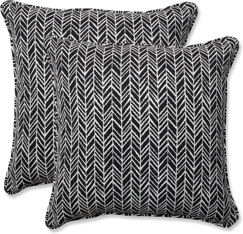 Pillow Perfect Outdoor Indoor Herringbone Night 18.5-inch Throw Pillow Set of 2, 2 Piece
