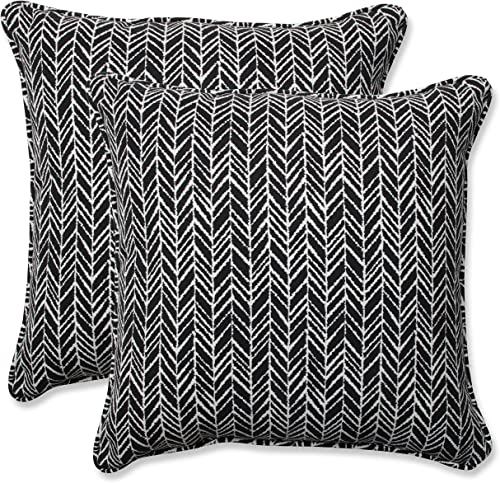 Pillow Perfect Outdoor Indoor Herringbone Night Throw Pillows, 18.5 x 18.5 , Black, 2 Pack