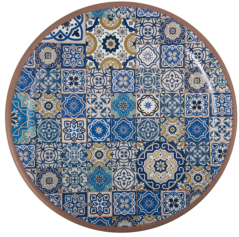 |Shatter-Proof and Chip-Resistant Melamine Dinner Plates|Color Melange 6-Piece 100/%  Melamine Dinner Plates Set Moroccan Tiles Blue