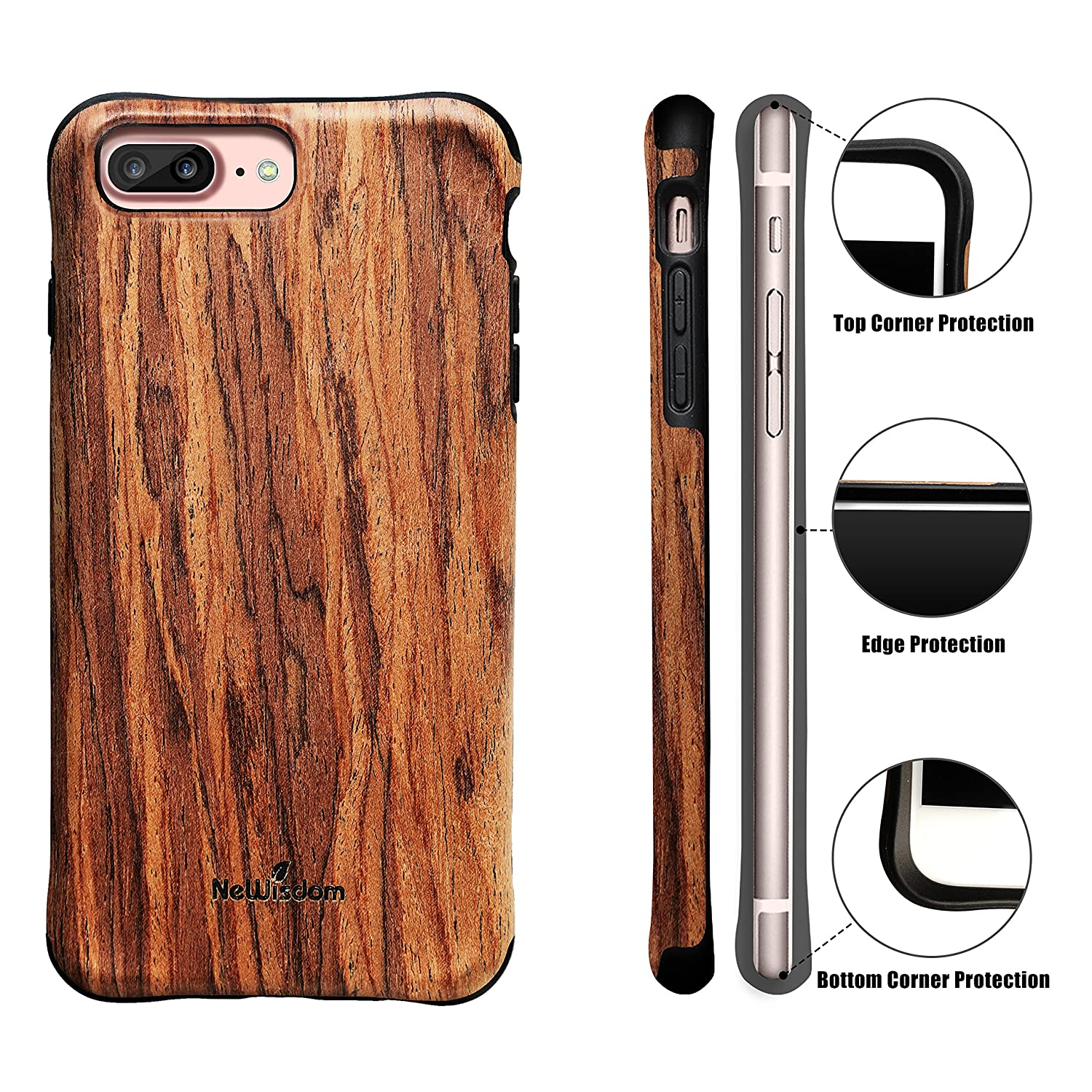 NeWisdom iPhone 8 Plus case Wood, iPhone 7 Plus Case Wood, Shockproof Unique Hybrid Rubberized Cover [ Wood Over Rubber] Soft Real Wood Case for Apple iPhone 8Plus iPhone 7Plus – Sandalwood - iPhone 8 Plus Case