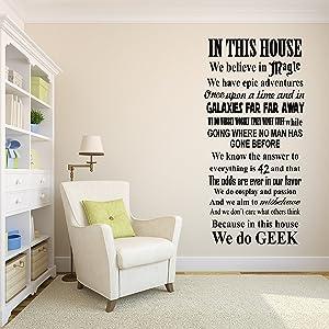 In This House We Do Geek Wall Decal - Living Room Decor - Fantasy Star Wars Galactica Fandom Vinyl Sticker