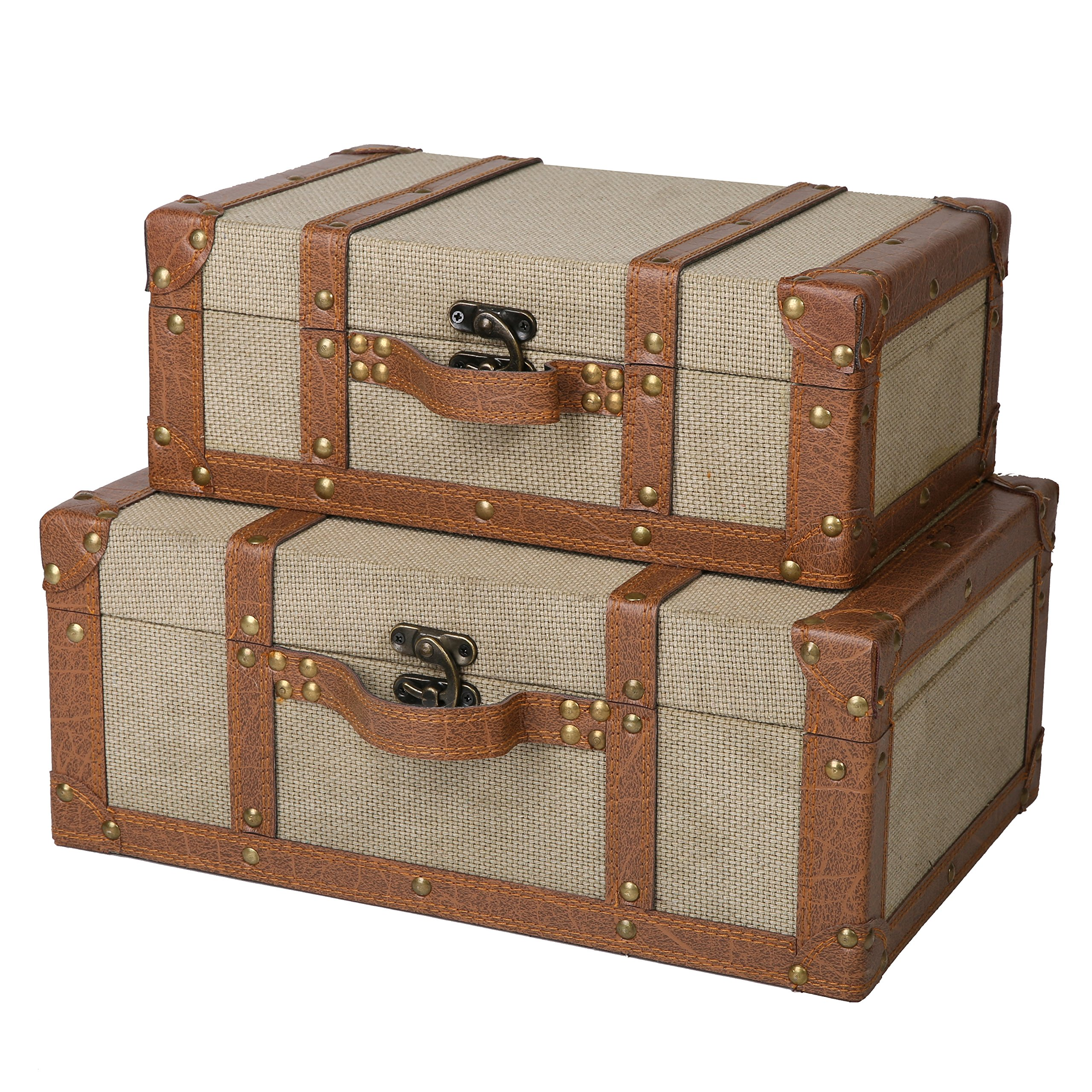 SLPR Carson Wooden Fabric-Covered Suitcase Boxes (Set of 2, Beige) | Old-Fashioned Antique Vintage Style Nesting Trunks for Shelf Home Decor Birthday Parties Wedding Decoration Displays Crafts by SLPR