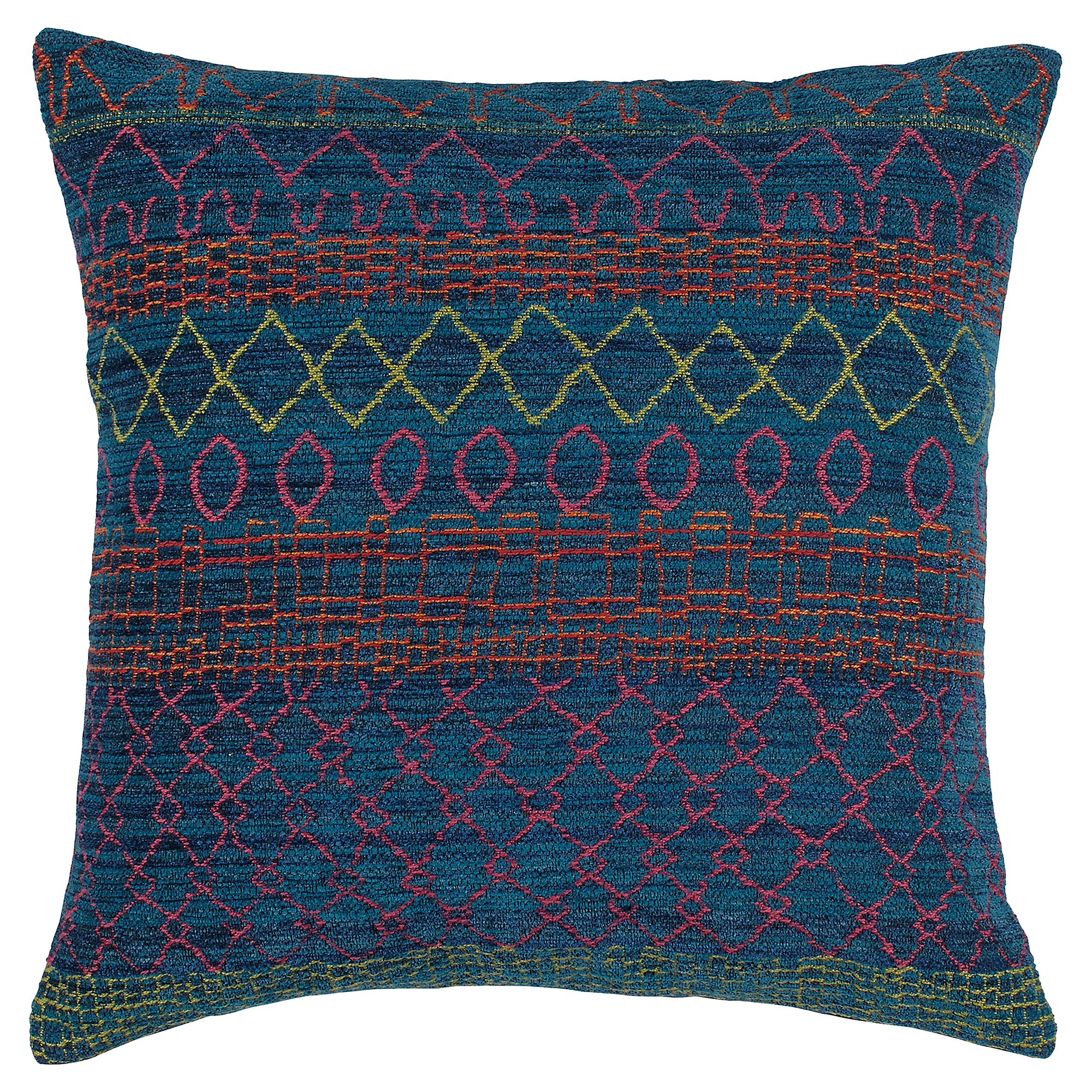 Rivet Tropical Chenille Woven Decorative Throw Pillow, 17'' x 17'', Teal