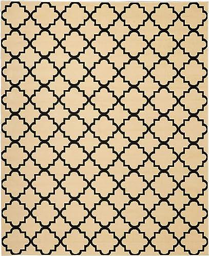 Nourison Grafix Modern Contemporary Area Rug, 7 10 x9 10, Cream Black