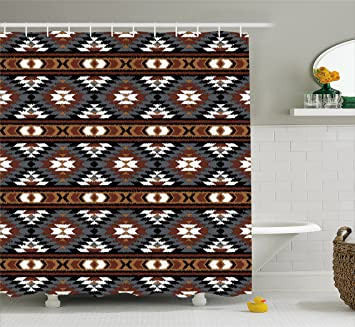 Aztec Shower Curtain By Lunarable Ancient Mesoamerican Culture Inspired Geometrical Shapes With Vibrant Colors