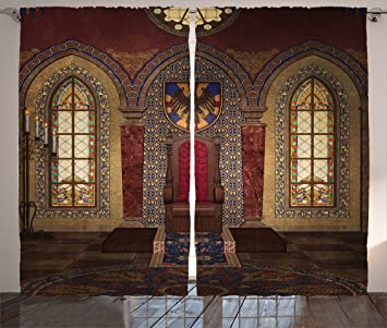 Charmant Gothic House Decor Curtains By Ambesonne, Red Medieval Throne In Chapel  Eagle Portrait On Wall