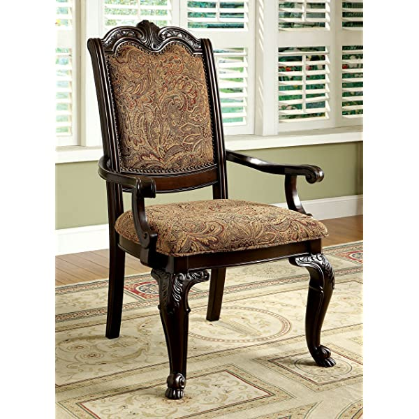 Furniture of America IDF-3319F-AC Ferrara Elegant Dining Arm Chair Brown Cherry