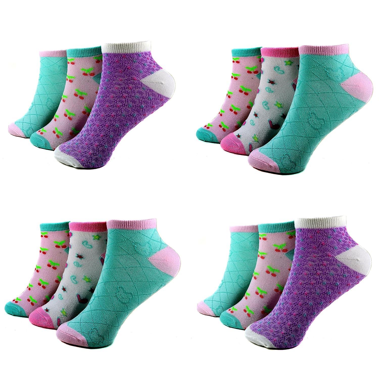 12 Paar Kids Mädchen Socken Kinder Sneaker Ladies Sport Strümpfe Baumwolle Art.C-2. Größe 23-38 Kurzsocken
