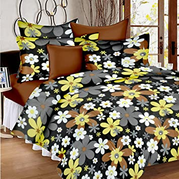 a3d62b0c282 Ahmedabad Cotton 144 TC Cotton Double Bedsheet with 2 Pillow Covers - Grey  and Brown  Amazon.in  Home   Kitchen