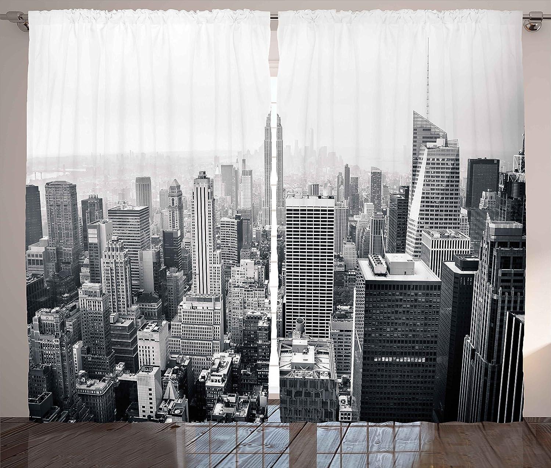 Amazon.com: Ambesonne Urban Curtains, USA Decor Theme Aerial ...