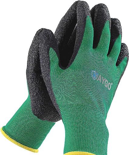 Best Value Thick Green Gardening Gloves 2 pairs Extra Grip Gardening DIY Work