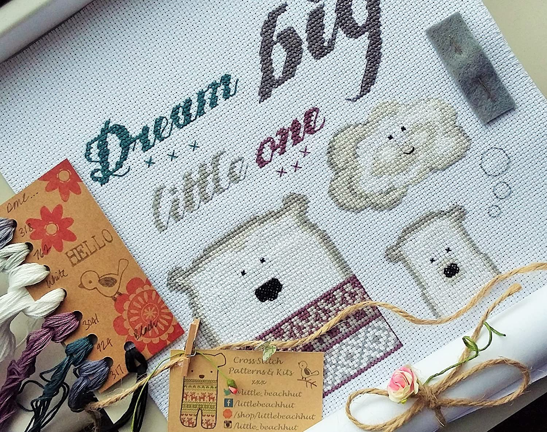Dream big little one cross stitch kit, cute bear embroidery pattern
