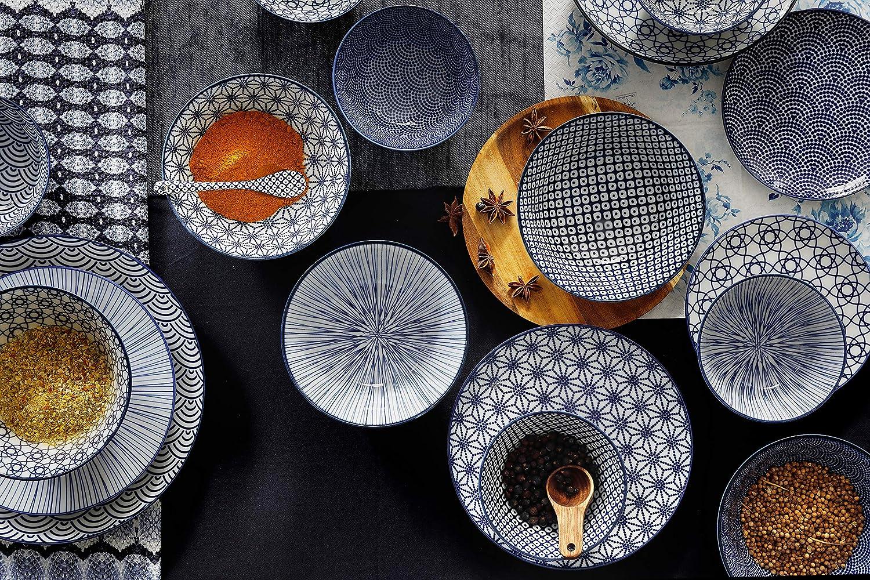 TOKYO Design Studio Nippon Blue Sushi Set 6 Pieces 2 x Sushi Plates 2 x Sauce Bowls 2 x Chopsticks Asian Porcelain Japanese Design with Gift Packaging