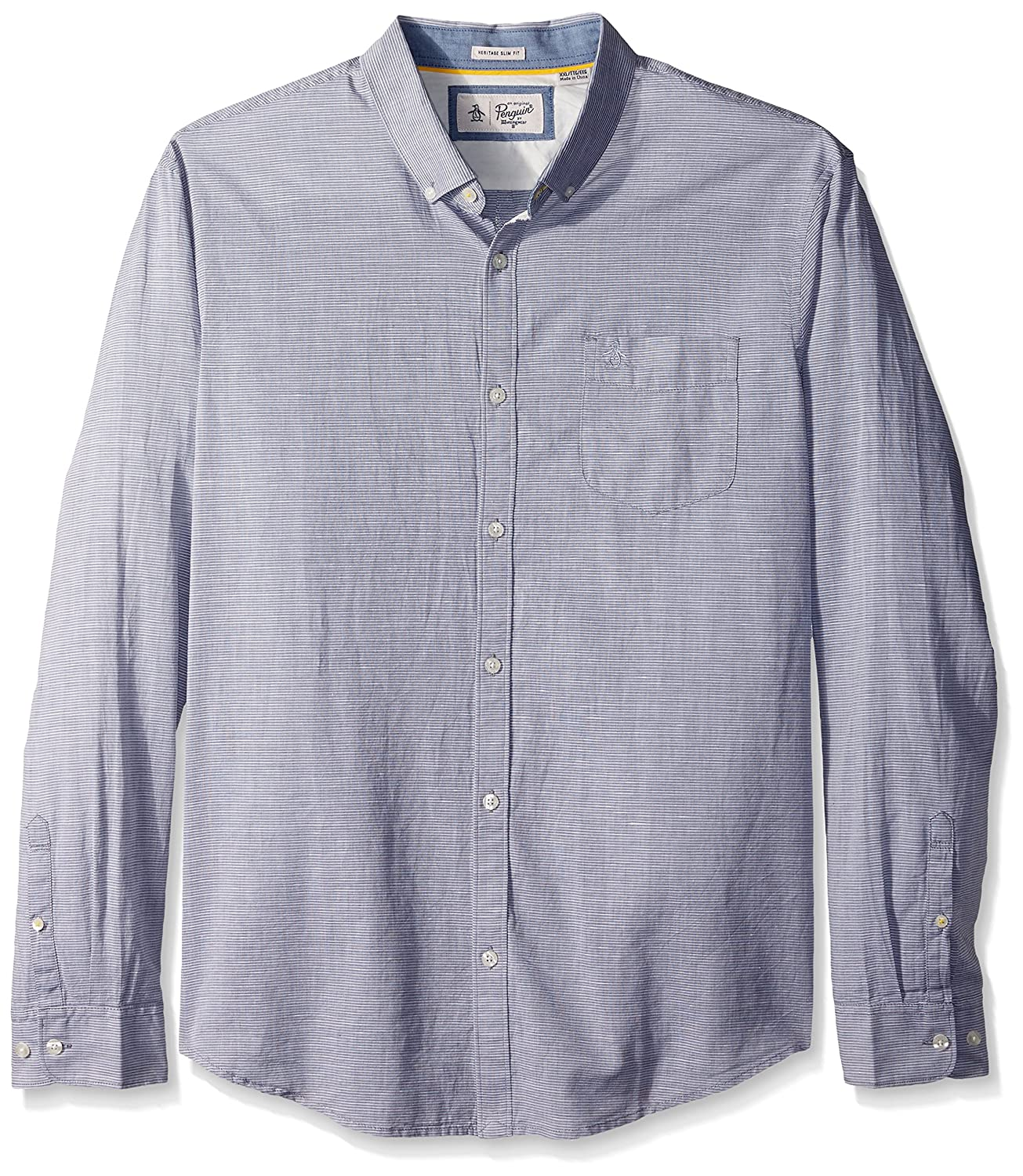 Original Penguin Mens Long Sleeve Slub Linen Feeder Stripe Woven Shirt