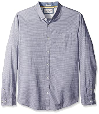8366e3d3 Amazon.com: Original Penguin Men's Long Sleeve Slub Linen Feeder Stripe  Woven Shirt: Clothing