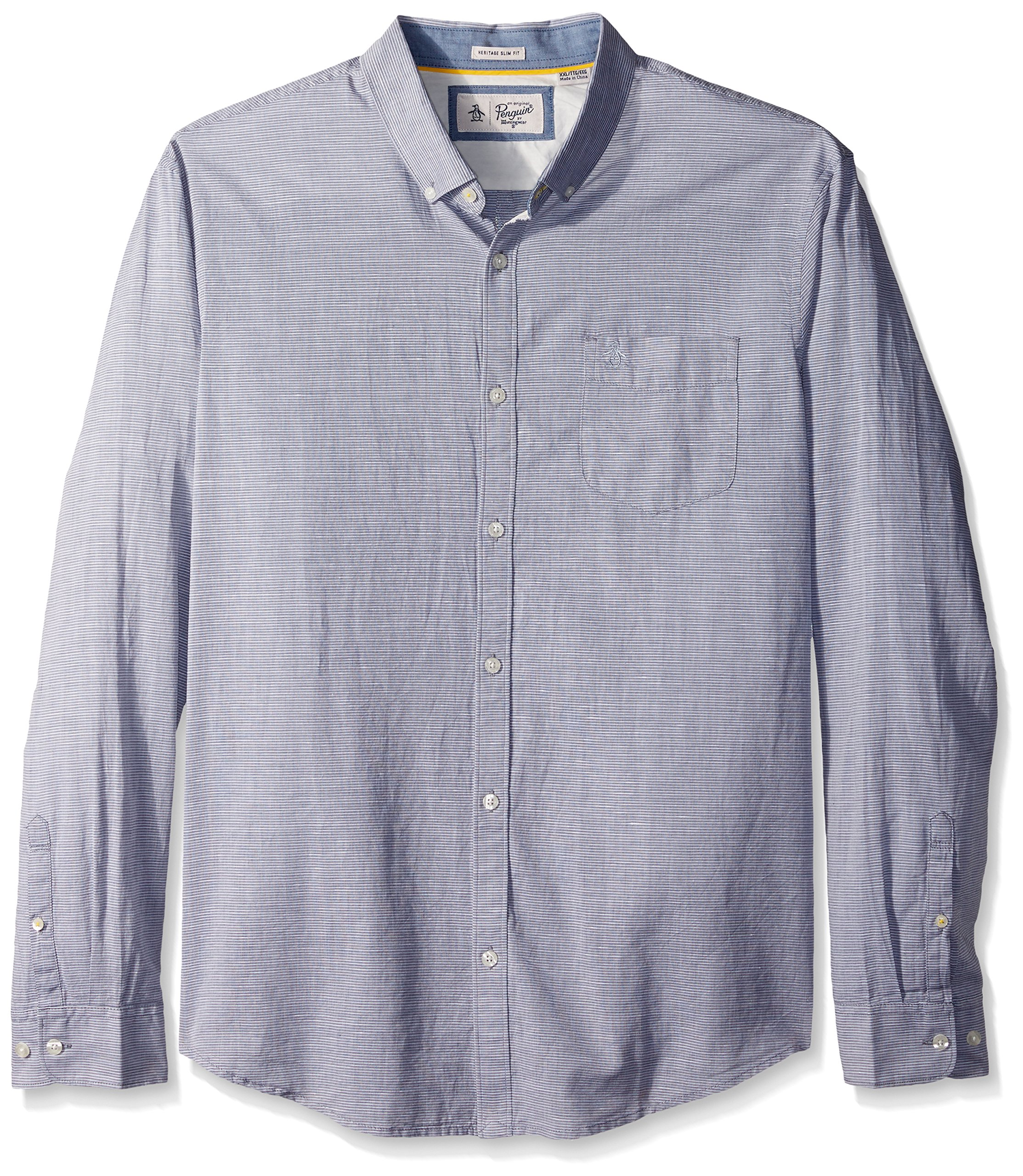 Original Penguin Men's Long Sleeve Slub Linen Feeder Stripe Woven Shirt, Dark Sapphire, Large