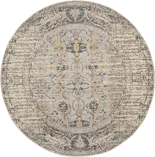 Safavieh Monaco Collection MNC209G Modern Abstract Grey and Multi Distressed Area Rug 9' Diameter