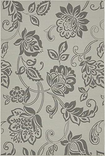 Unique Loom Outdoor Botanical Collection Floral Casual Transitional Indoor and Outdoor Flatweave Gray Area Rug 6' 0 x 9' 0