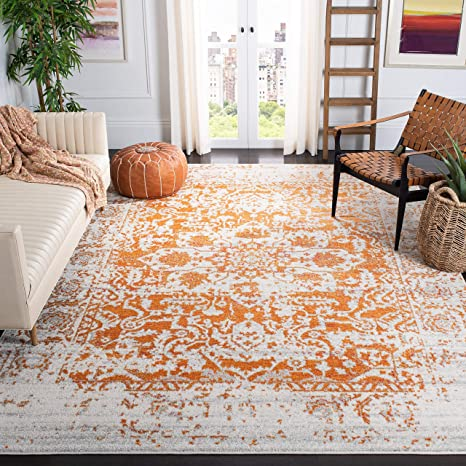 Safavieh Madison Collection Mad603p Oriental Snowflake Medallion Distressed Non Shedding Stain Resistant Living Room Bedroom Area Rug 9 X 12 Orange Ivory Furniture Decor