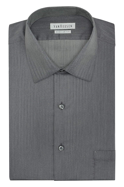 1d47eca0 Van Heusen Men's Herringbone Regular Fit Solid Spread Collar Dress Shirt