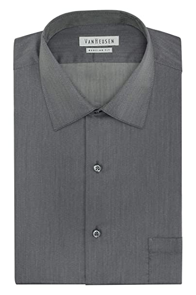 e829fb22284a57 Van Heusen Men's Herringbone Regular Fit Solid Spread Collar Dress Shirt,  Black Pepper, 14.5""