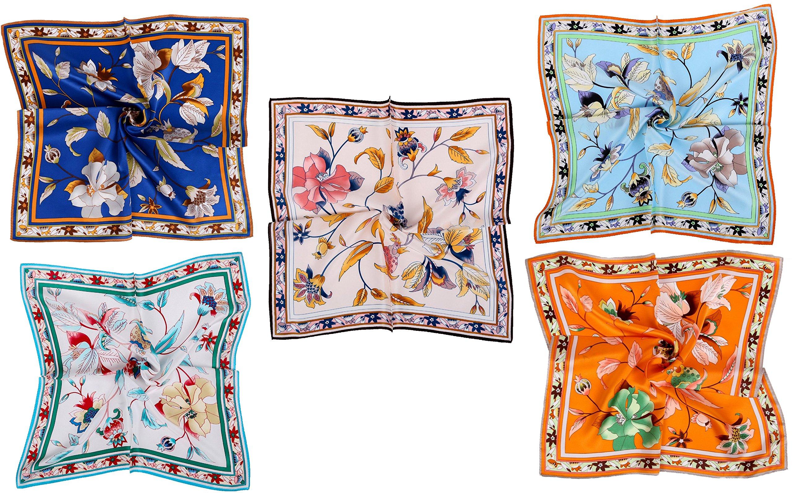 Grace Scarves 100% Silk Scarf, Petite Square, Charmeuse, Set of 5, Elegant Bouquet