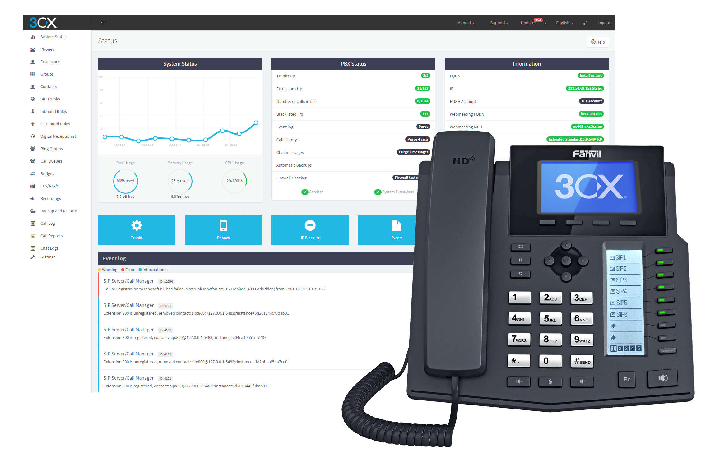 3CX IP PBX - software phone system [Online Code] Asterisk Sip Phone