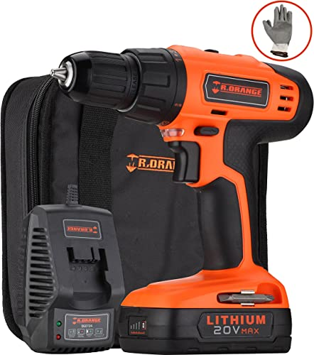 H ndewerk 20V Max Lithium-Ion Cordless Variable Speed Drill Driver Combo Kit with LED light and 4 PCS socket driver bits Battery Quick Charger Gloves and Contractor Bag Included