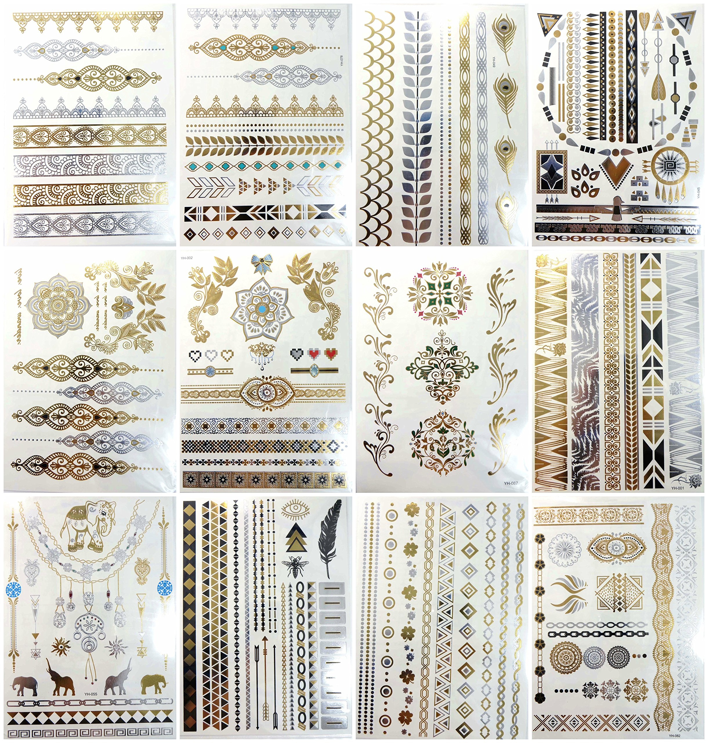 12 sheets gold silver metallic temporary tattoo jewelry-inspired sexy
