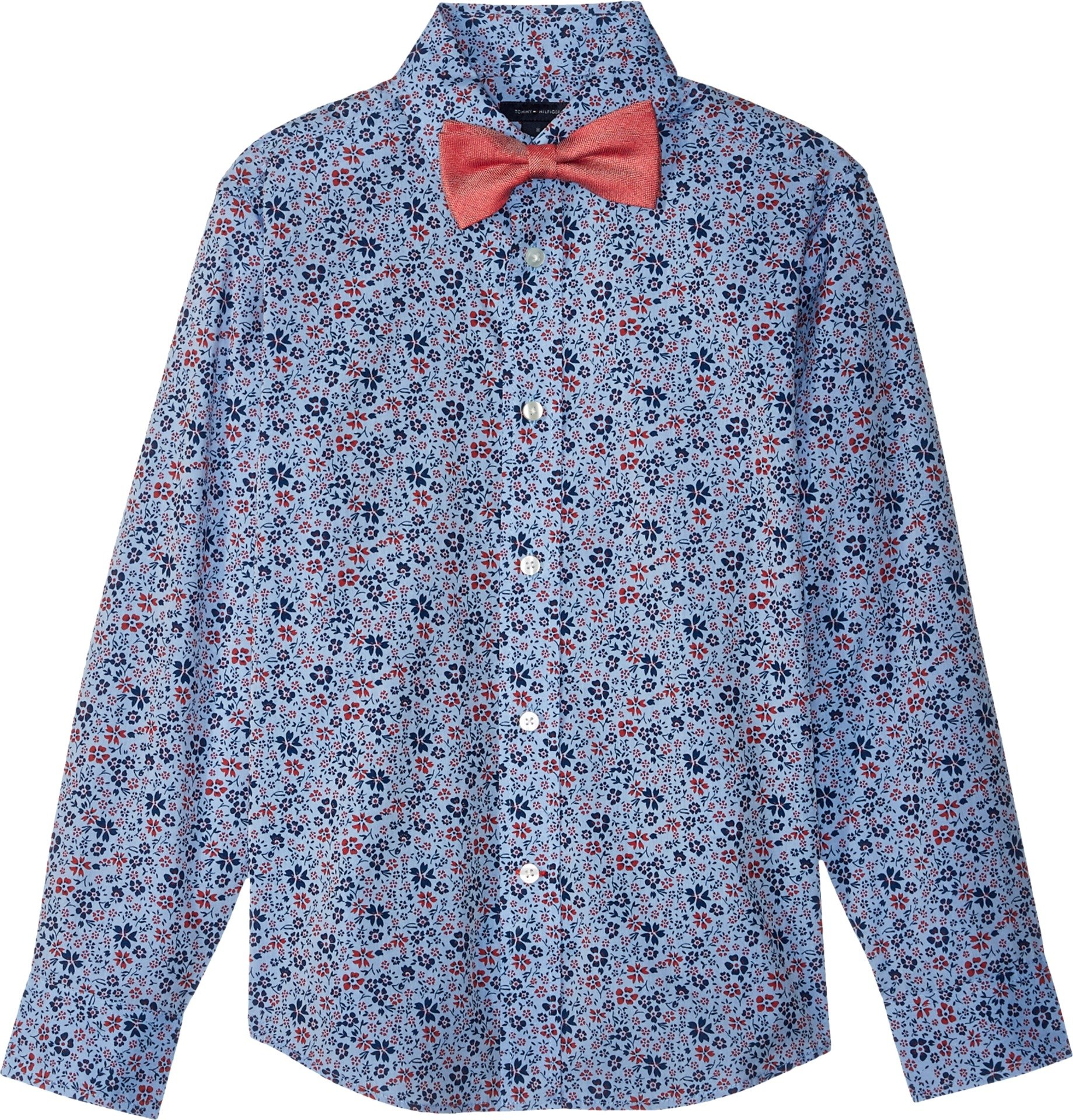 Tommy Hilfiger Big Boys' Long Sleeve Stretch Dress Shirt with Bow Tie, Floral Cherry Popsicle, 20