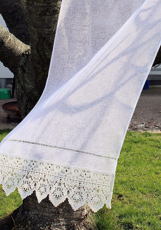 tela Blanco Cortina r/ústica de lino Shabby Chic Vintage algod/ón encaje 30H x 60B cm