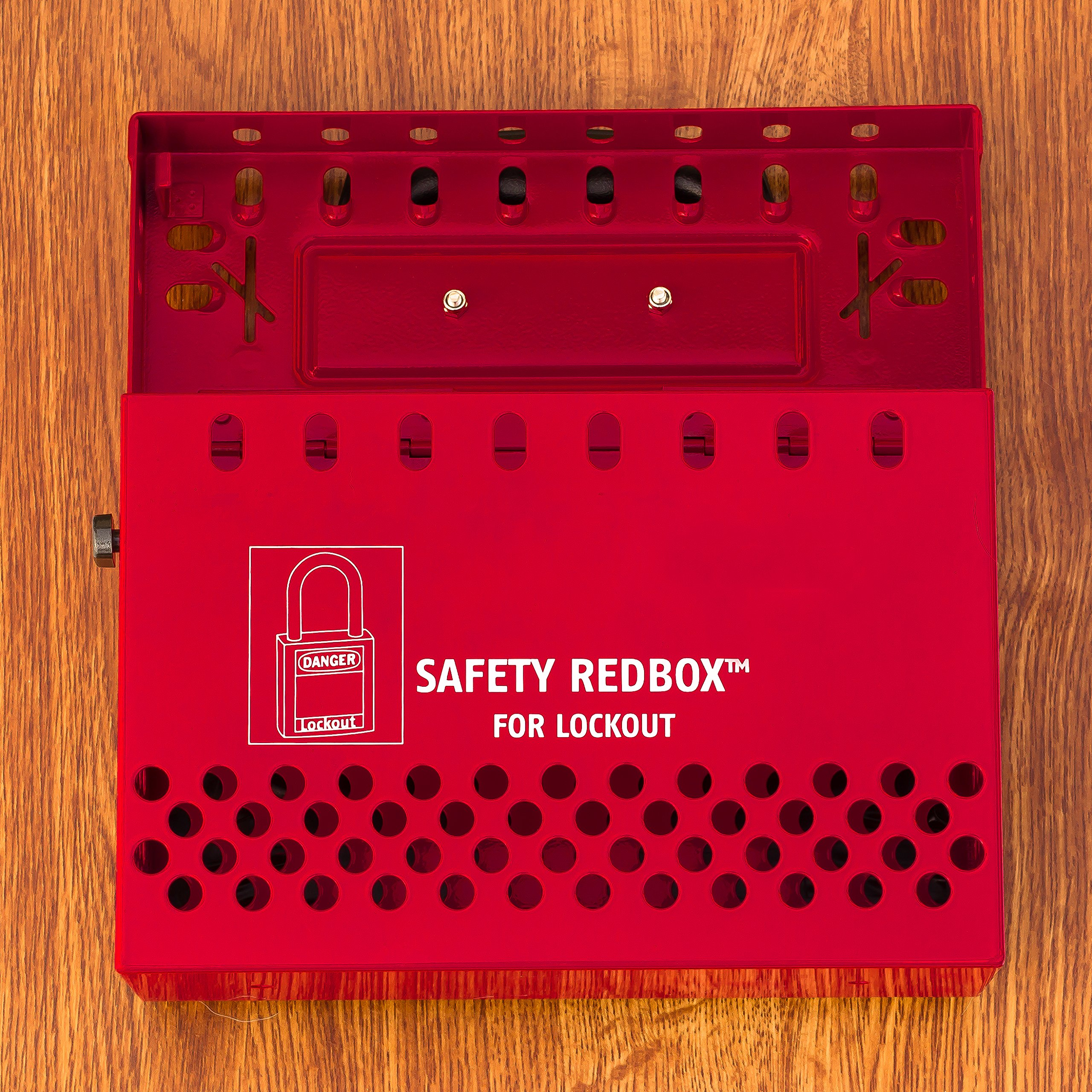 Lockout Safety Supply 7288 Group Lockout Box-Steel-Wall Mountable, Red